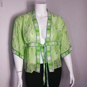 Coldwater Creek Green Blue Size XL Silk Kimono